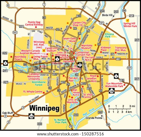Winnipeg Manitoba Area Map Stock Vector 150287516 Shutterstock