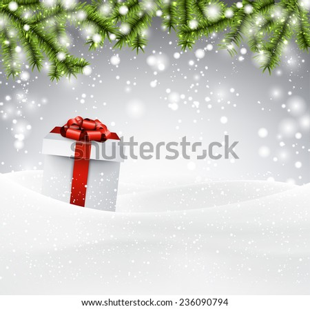 Winter abstract background with spruce twigs and gift box. Christmas vector wallpaper. Eps10.  - stock vector