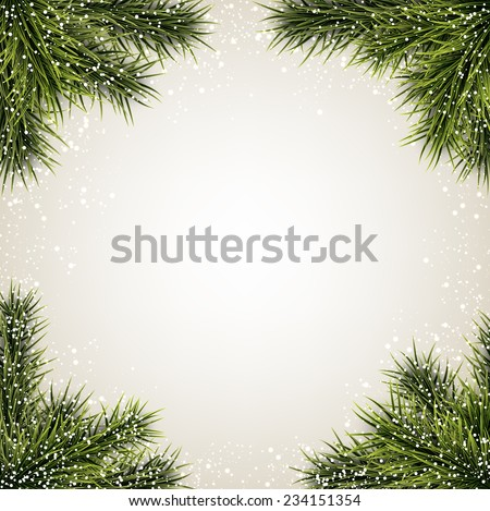 Winter abstract background with spruce twigs. Christmas vector frame. Eps10.  - stock vector