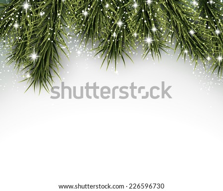 Winter abstract background with spruce twigs. Christmas vector wallpaper. Eps10.  - stock vector
