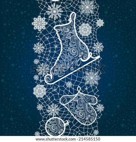 Winter abstract lace from snowflakes,skates,New Year's toys.The abstract lace strip for decoration. Winter theme, holidays. Template frame design for card. Lace Doily.
