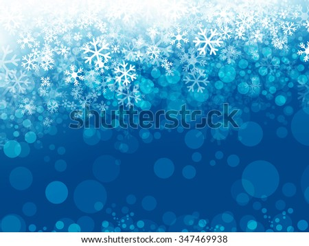 Winter Abstract Snowflake Background in Blue, Copyspace - stock vector