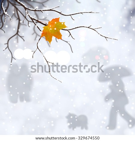 Winter abstract vector illustration. The last leaf on the tree on snowfall backdrop of the street with cars, walking people.