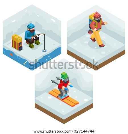 Winter Activity Vacation Icons Set Journey Ski Ice Fishing Flat Design Isometric 3d Vector Illustration - stock vector