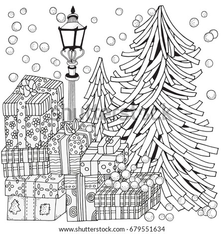 Adult Coloring Book Page Lantern Shines At Night Firs Christmas Trees