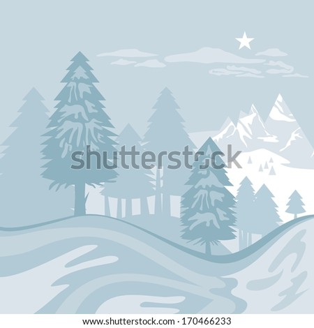 Winter alpine landscape with mountains and trees