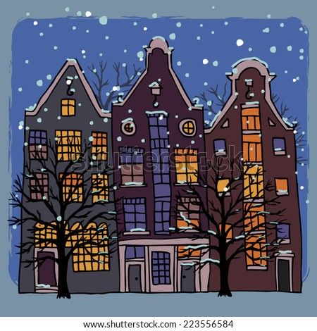 Winter Amsterdam. Vintage Christmas greeting card. Vector illustration. - stock vector