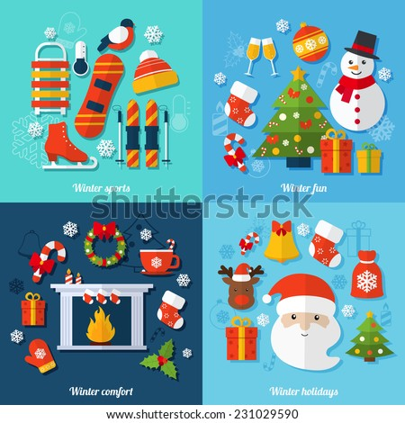 Winter and christmas flat set with sports fun comfort and holidays isolated vector illustration - stock vector