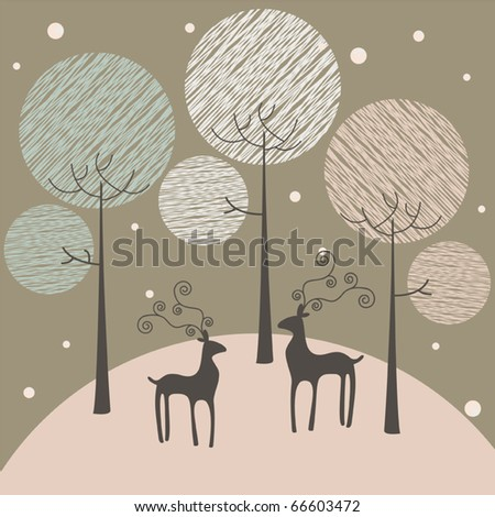 Winter and christmas greeting card vector background - stock vector