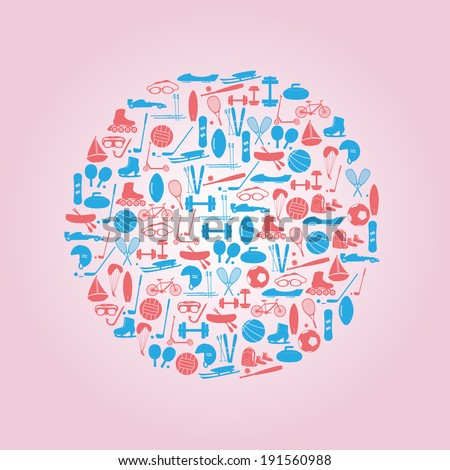 winter and summer sports icons eps10 - stock vector