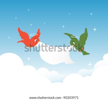 Winter angel  birds - stock vector