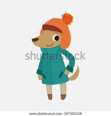 winter animal dog, flat icon  - stock vector