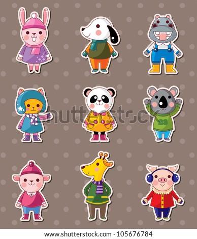 winter animal stickers - stock vector
