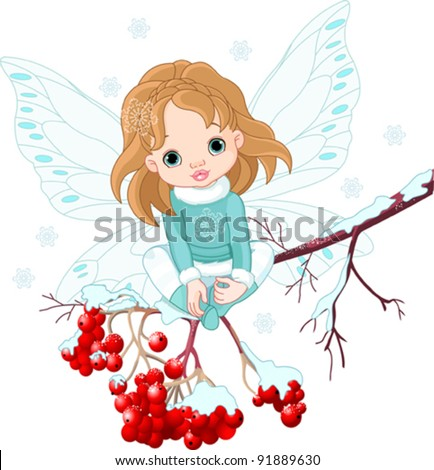 Winter Baby Fairy sitting on Ash Tree Branch - stock vector