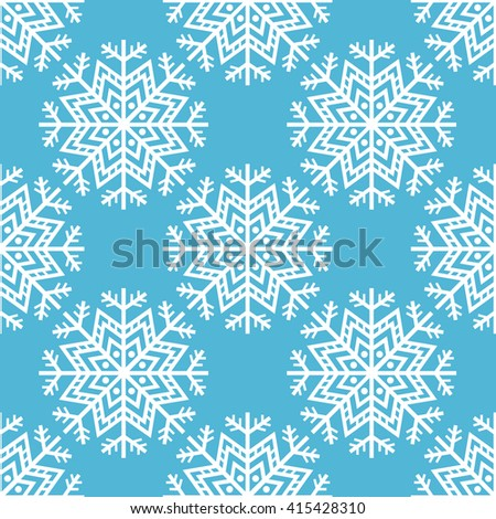 Winter background. Abstract snowflake seamless pattern. Vector illustration.