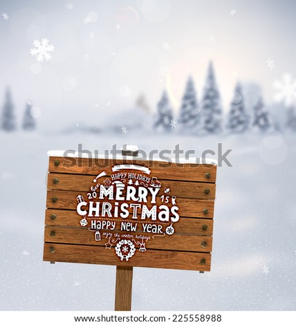 Winter Background. Blurred Landscape with Snow Drifts, Snowfall and Christmas Trees in the distance. Holiday Vector Illustration with Snowflakes, Sky and Xmas Label. Wooden Plaque with Christmas Label - stock vector