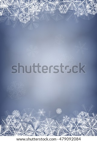 Winter background. Borders made of fluffy snowflakes on soft blue background with space for text.