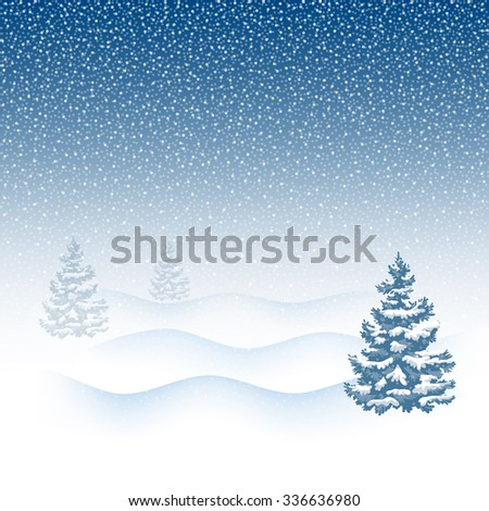 Winter Background. Christmas Winter Landscape in snowfall with snowbound fir trees. Vector illustration.