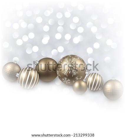 Winter background. Fallen defocused snowflakes. Christmas golden balls. Vector illustration. - stock vector