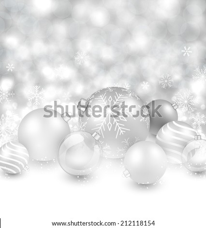 Winter background. Fallen defocused snowflakes. Christmas silver balls. Vector.  - stock vector