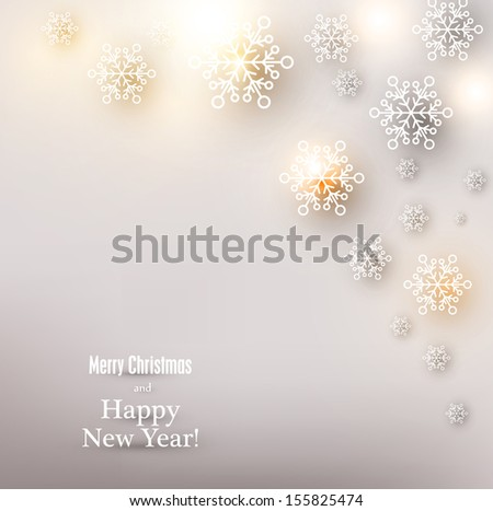 Winter background. Glowing snowflakes. Christmas. Vector.   - stock vector