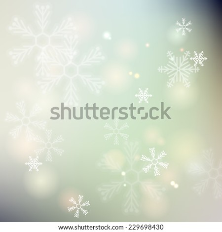 Winter background. Glowing snowflakes. Christmas. Vector frame.  - stock vector