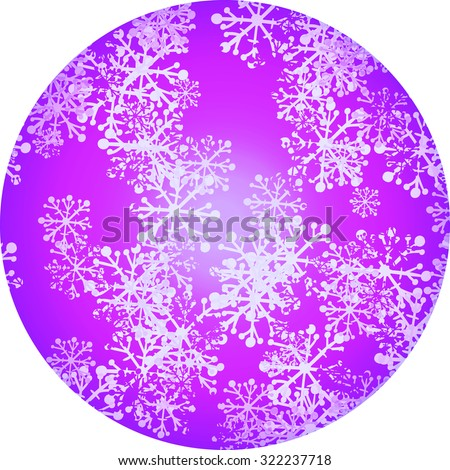 Winter background in circle with snowflakes. Vector illustration. - stock vector