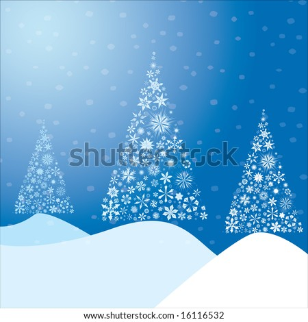 Winter background made from snow flakes arranged in the shape of a Christmas tree - stock vector