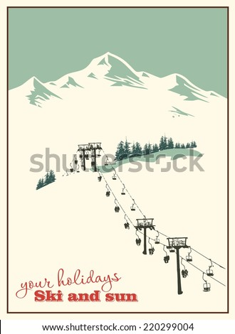 Winter background. Mountain landscape with ski lift - stock vector