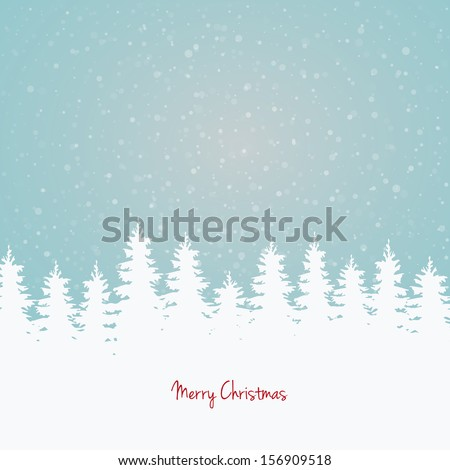 winter background trees and sky - stock vector