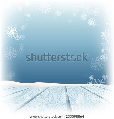 Winter background. Winter snow landscape with wooden table in front. Vector illustration - stock vector