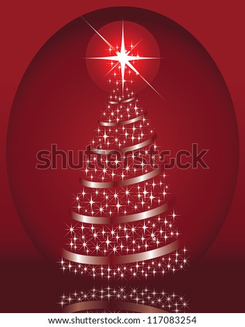 Winter background with a beautiful Christmas fir and stars - stock vector