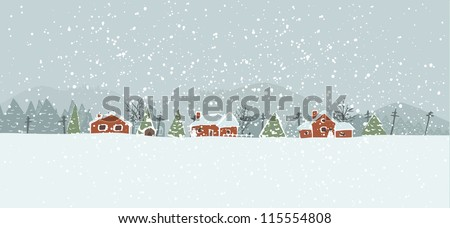 Winter background with a peaceful village in a snowy landscape. Christmas vector hand drawn background. - stock vector