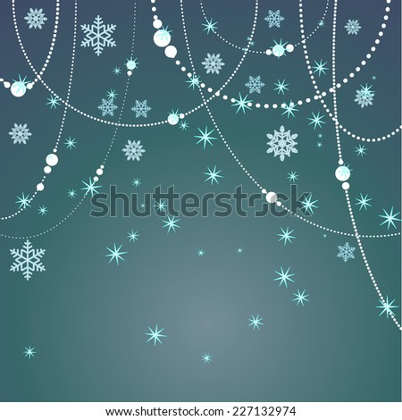 winter background with beads and sparkling snowflakes - stock vector