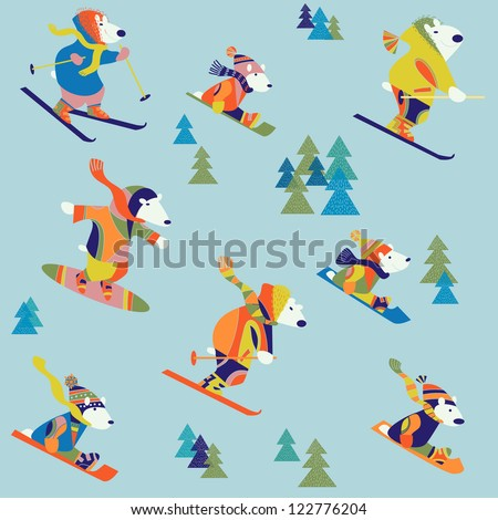 winter background with bears - stock vector