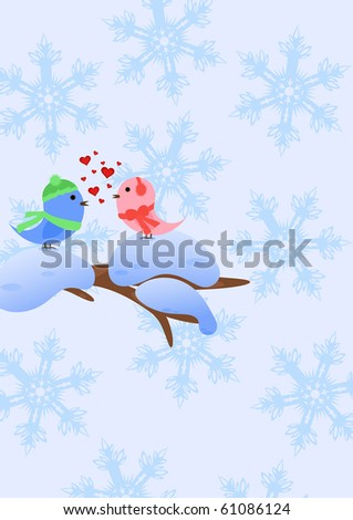 Winter Background with Birds in love on snow-covered branch