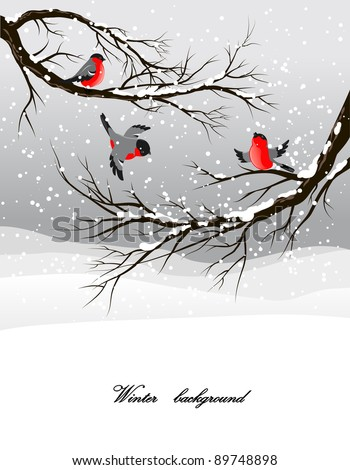 Winter background with bullfinch - stock vector