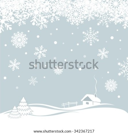 Winter background with cartoon house. Christmas vector illustration