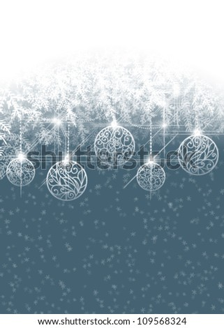 Winter background with Christmas baubles - stock vector