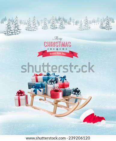 Winter background with Christmas presents on a sleigh and a santa hat. Vector.  - stock vector