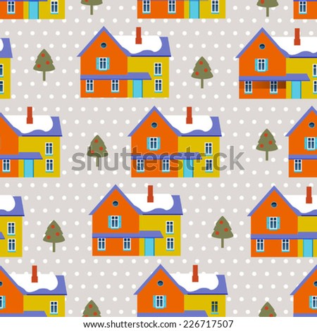 winter background with color houses