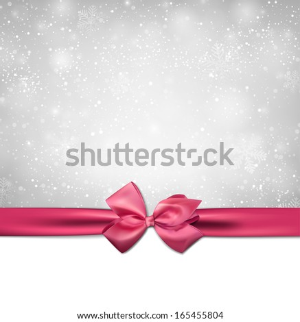 Winter background with crystallic snowflakes with pink gift bow. Christmas decoration. Vector.  - stock vector