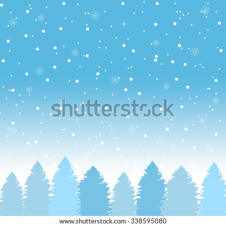 Winter background with falling snow and wintertime forest with spruces, Christmas trees, vector illustration - stock vector