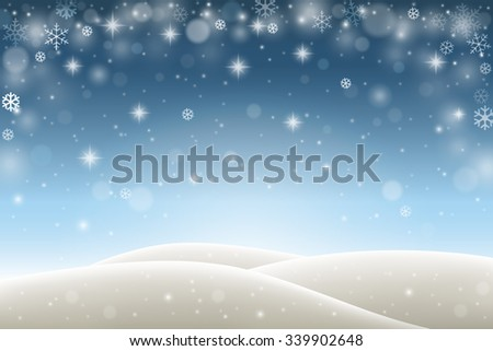 Winter background with falling snowflakes, snow and hills - stock vector