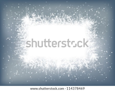 Winter background with fir branches and falling snow