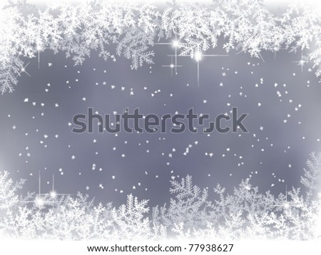 winter background with fir branches and snow - stock vector