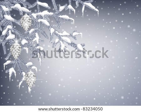 Winter background with  fir branches, pine cones and icicles - stock vector