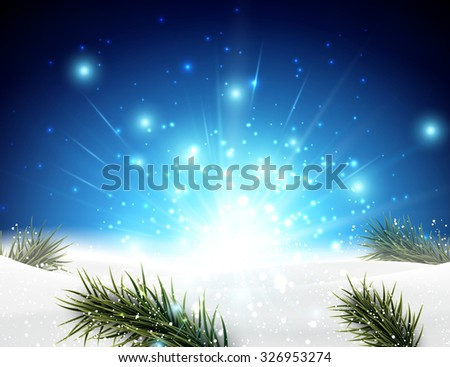 Winter background with fir branches. Vector Illustration. - stock vector