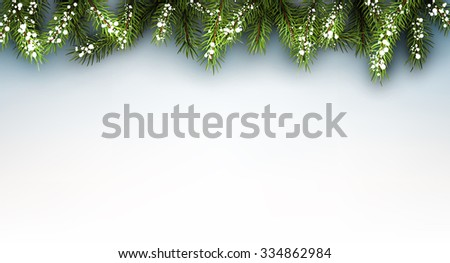 Winter background with fir branches. Vector paper illustration. - stock vector