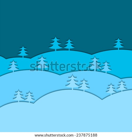 Winter background with fir trees. Vector illustration Eps 8. - stock vector